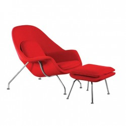 Place furniture Replica Eero Saarinen Womb Chair with Ottoman red cushion chromed steel frame