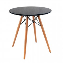 Replica Eames Eiffel Wood Leg Table mdf top dia 70cm black