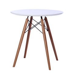 Replica Eames Eiffel Wood Leg Table mdf top dia 70cm white