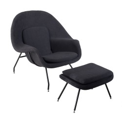 place furniture Replica Eero Saarinen Womb Chair with Ottoman black cushion black legs