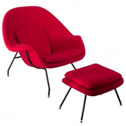 place furniture Replica Eero Saarinen Womb Chair with Ottoman red cushion black legs