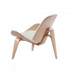 Replica Hans Wegner CH07 Shell Chair natural wood white cushion 3