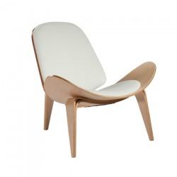 Replica Hans Wegner CH07 Shell Chair natural wood white cushion 4
