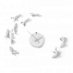 Goldfishes Clock - No 9 white