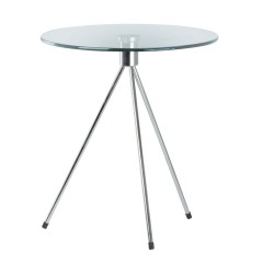 Replica Tripod Glass Side Table chromed steel leg