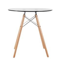 Replica Eames Eiffel Wood Leg Table – 70cm Glass Top 1
