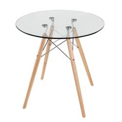 Replica Eames Eiffel Wood Leg Table – 70cm Glass Top 2