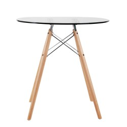 Replica Eames Eiffel Wood Leg Table – 70cm Glass Top 1