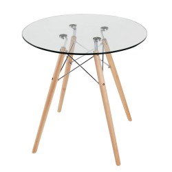 Replica Eames Eiffel Wood Leg Table – 70cm Glass Top 2