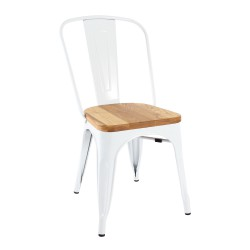 Replica Xavier Pauchard Tolix Chair wood seat white 1