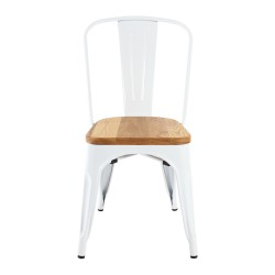 Replica Xavier Pauchard Tolix Chair wood seat white 2