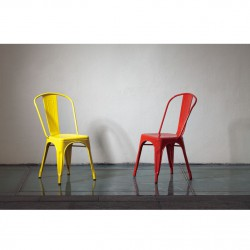 Replica Xavier Pauchard Tolix Chair yellow and red