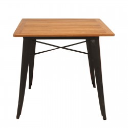 Replica Xavier Pauchard Tolix Square Table Teak Wood black 1