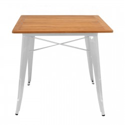 Replica Xavier Pauchard Tolix Square Table - Teak Wood white