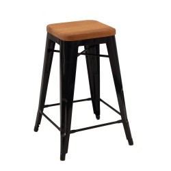 Replica Xavier Pauchard Tolix Stool - 65cm Wood Seat black 1