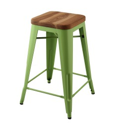 Replica Xavier Pauchard Tolix Stool - 65cm Wood Seat green