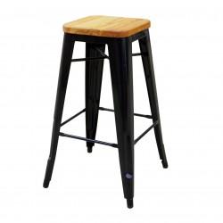 Replica Xavier Pauchard Tolix Stool 75cm Wood Seat black 1