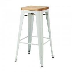 Replica Xavier Pauchard Tolix Stool 75cm Wood Seat white 2