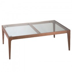 Urban Rectangle Coffee Table walnut glass top 1