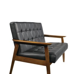 Replica Hans Wegner Plank Double Seat Arm Chair - Black leather & Walnut Beech Frame