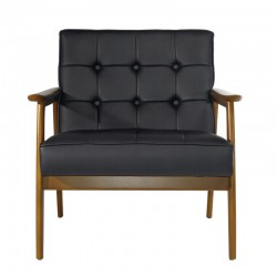 Replica Hans Wegner Plank Single Seat Arm Chair - Black leather & Walnut Beech Frame