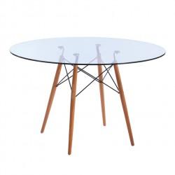 Replica Eames Eiffel Wood Leg Table - 120cm Glass Top