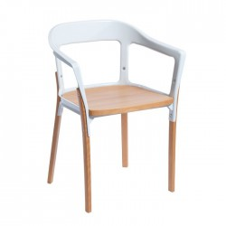 Replica Erwan and Ronan Bouroullec Steelwood Chair white and natural 1