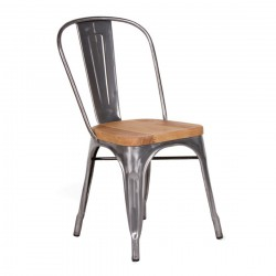 Replica Xavier Pauchard Tolix Chair - Metallica Color wooden seat place furniture gunmetal