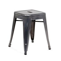 Replica Xavier Pauchard Tolix Stool - 45cm Metallic Color gunmetal 01