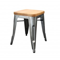 Replica Xavier Pauchard Tolix Stool - 45cm Wood Seat Metallic Color