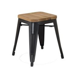 Replica Xavier Pauchard Tolix Stool - 45cm Wood Seat black