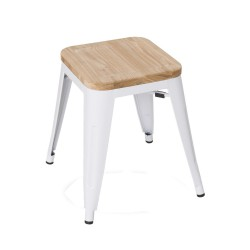 Replica Xavier Pauchard Tolix Stool - 45cm Wood Seat white