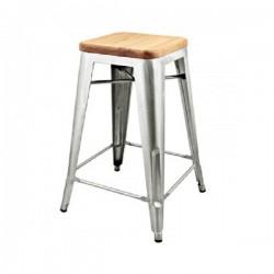 Replica Xavier Pauchard Tolix Stool - 65cm Wood Seat Metallic Color