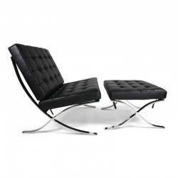 Place furniture Replica Ludwig Mies van der Rohe Barcelona chair ottoman Italian Leather black 1