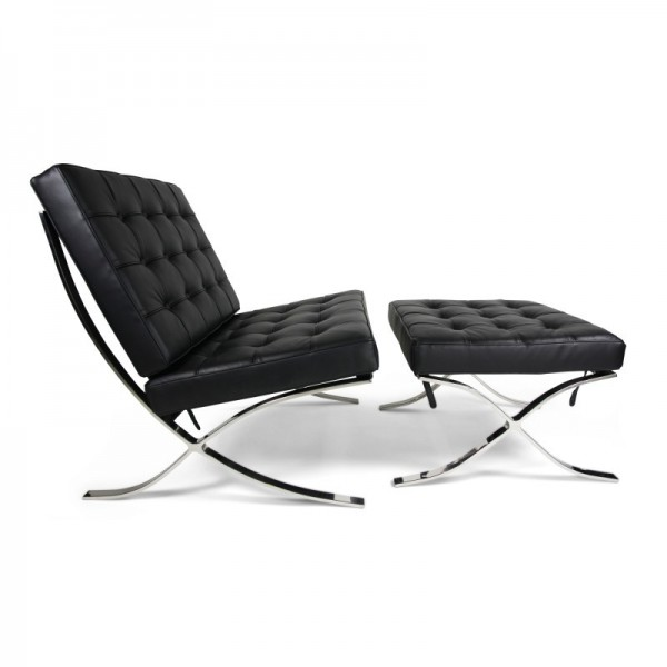 Fine Replica Barcelona Lounge Chair With Ottoman Black Italian Leather Caraccident5 Cool Chair Designs And Ideas Caraccident5Info