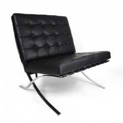 Place furniture Replica Ludwig Mies van der Rohe Barcelona chair ottoman Italian Leather black 4