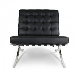 Place furniture Replica Ludwig Mies van der Rohe Barcelona chair ottoman Italian Leather black 5