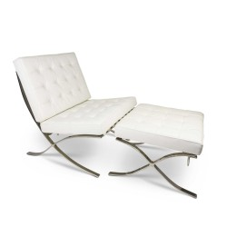 Place furniture Replica Ludwig Mies van der Rohe Barcelona chair ottoman Italian Leather white 1
