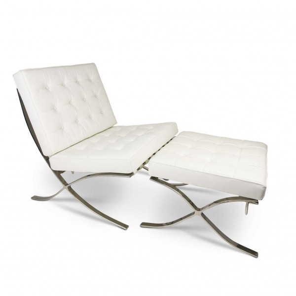 Astonishing Replica Barcelona Lounge Chair With Ottoman White Italian Leather Caraccident5 Cool Chair Designs And Ideas Caraccident5Info