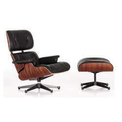 Replica Eames Lounge chair with ottoman italian leather black 3