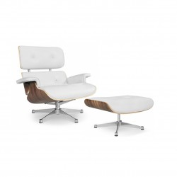 Replica Eames Lounge chair with ottoman italian leather white 1
