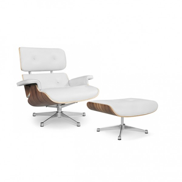 Marvelous Replica Eames Lounge Chair With Ottoman White Italian Leather Uwap Interior Chair Design Uwaporg