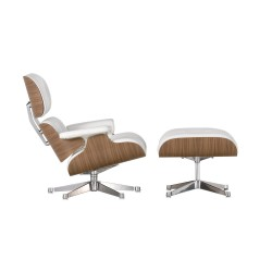 Replica Eames Lounge chair with ottoman italian leather white 2