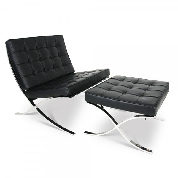 Swell Replica Barcelona Lounge Chair With Ottoman Black Italian Leather Evergreenethics Interior Chair Design Evergreenethicsorg