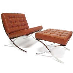 Place furniture Barcelona single chair and ottoman cognac