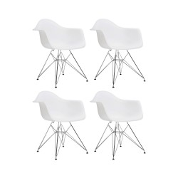 Place furniture Replica Eames DAR Dining Chair steel leg set of 4