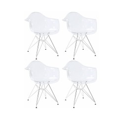 Place furniture Replica Eames DAR Dining Chair transparent clear set of 4