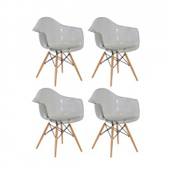 Place furniture Replica Eames DAW Dining Chair transparent clear set of 4