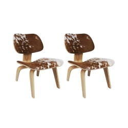 Place furniture Replica Eames LCW Lounge Chair Cowhide set of 2