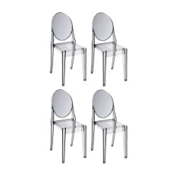 Place furniture Replica Philippe Starck Victoria Ghost Chair set of 4